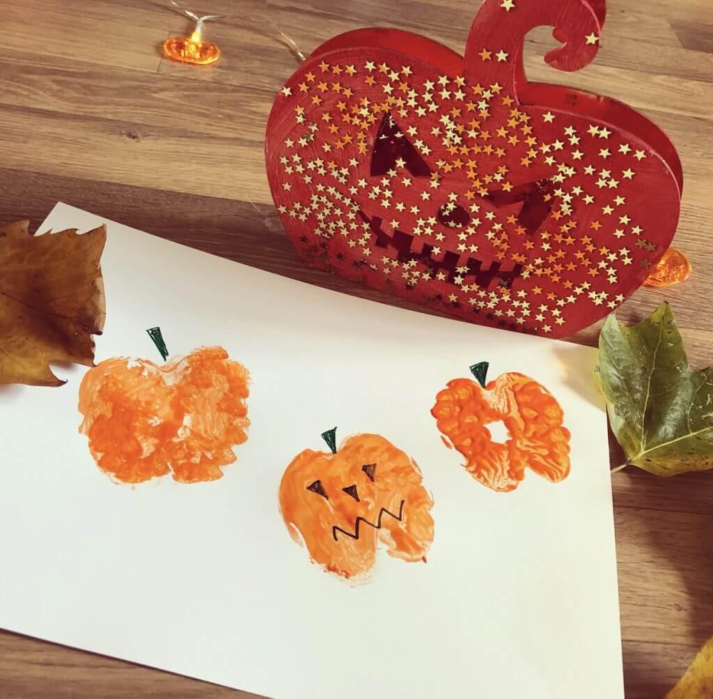 Apple Print Pumpkin Drawing