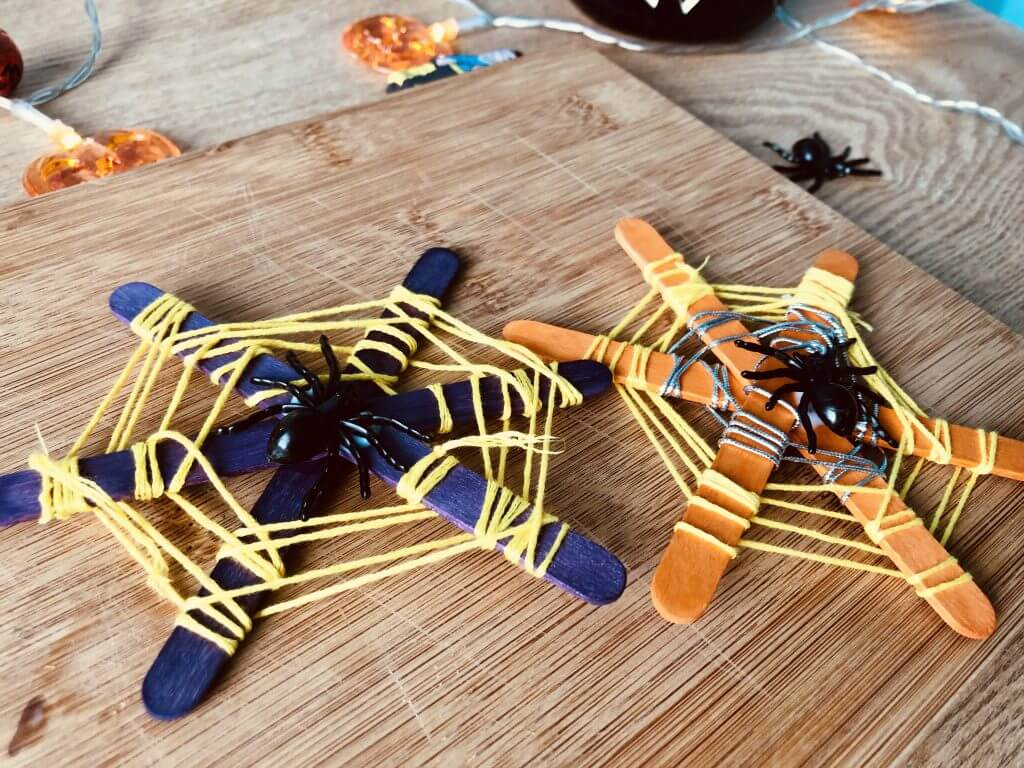 Finished Spider Web Decorations