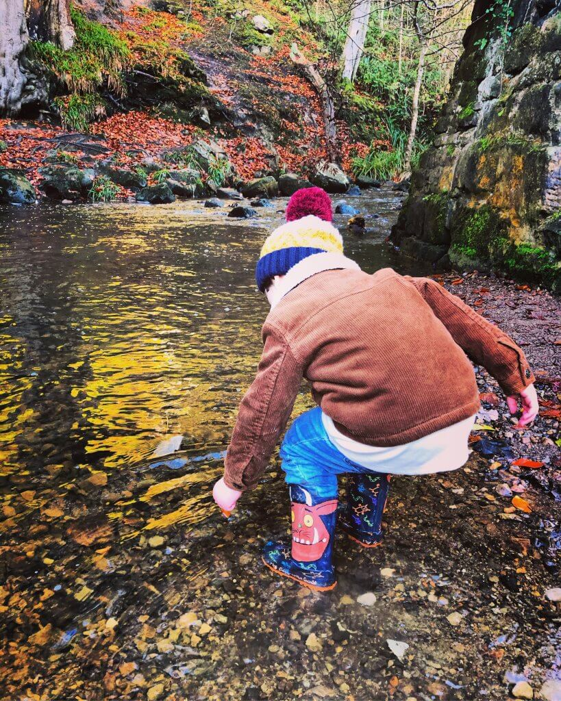 River foraging is a fun bushcraft activity for kids.