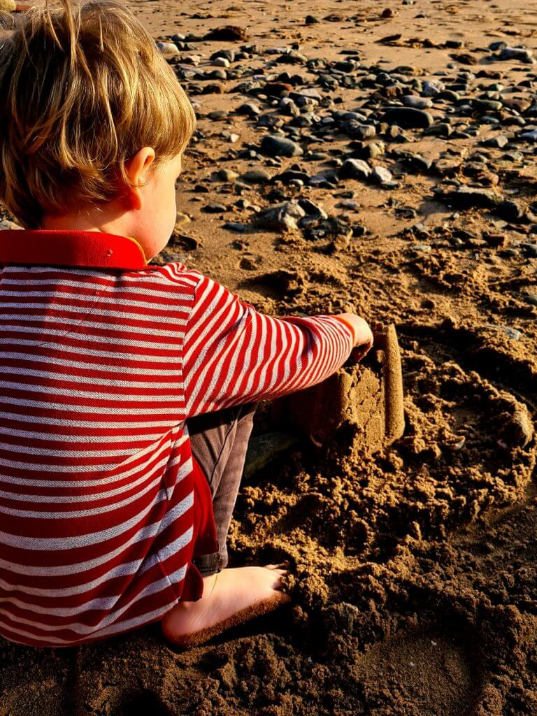Making sandcastles on a Wirral Beach