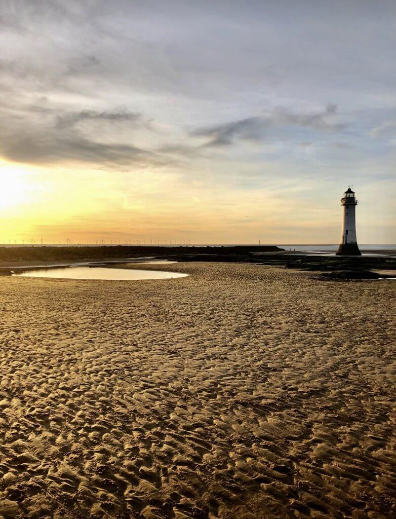 New Brighton Beach is a popular beach on The Wirral.
