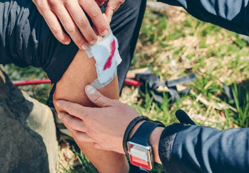 Cut Knee First Aid Outdoors