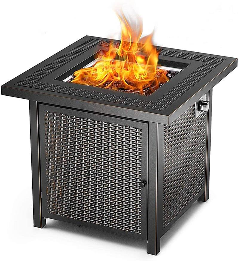 Square Patio Gas Fire Pit Table